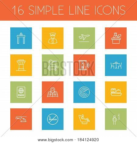 Set Of 16 Land Outline Icons Set.Collection Of Pilot, Elevator, Cafe And Other Elements.