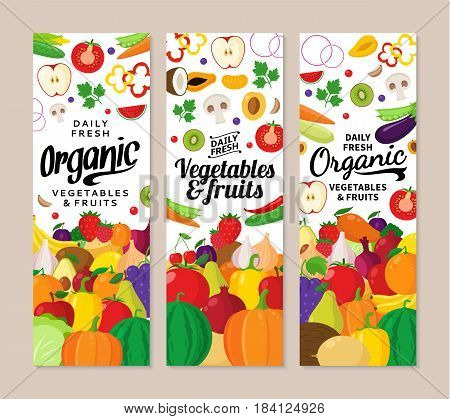 Vector Vegetables And Fruits Vertical Banners
