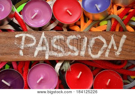 word passion on a  abstract colorful background
