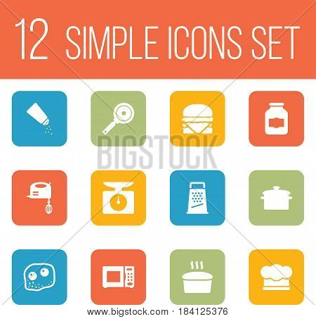 Set Of 12 Cooking Icons Set.Collection Of Kitchen Rasp, Weighing Machine, Blender And Other Elements.
