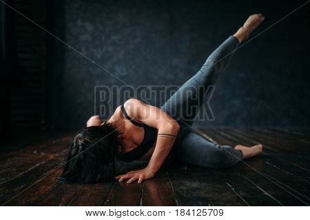 Active gymnastic exercise in dance class, contemp