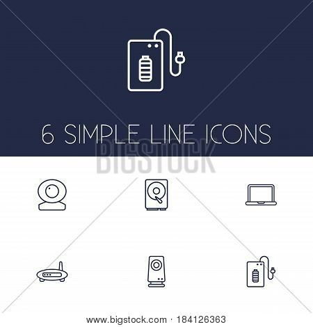 Set Of 6 Notebook Outline Icons Set.Collection Of Modem, Web Cam, Hdd And Other Elements.