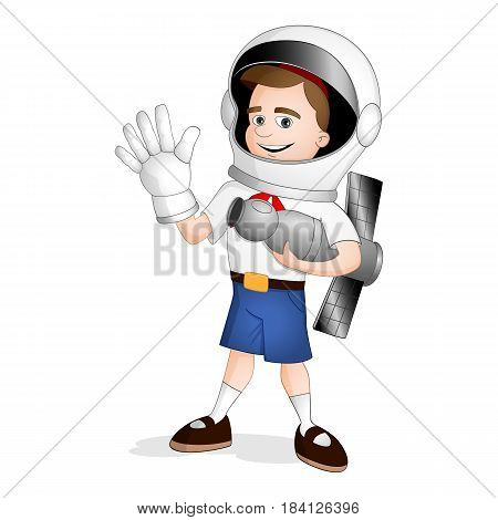A Boy Standing On International Day Of Human Space Flight
