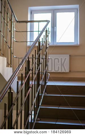 Stairway in the new residential building with window