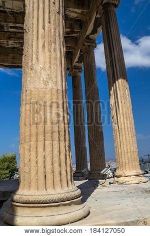 Close up of column of Parthenon Acropolis in Athens Greece