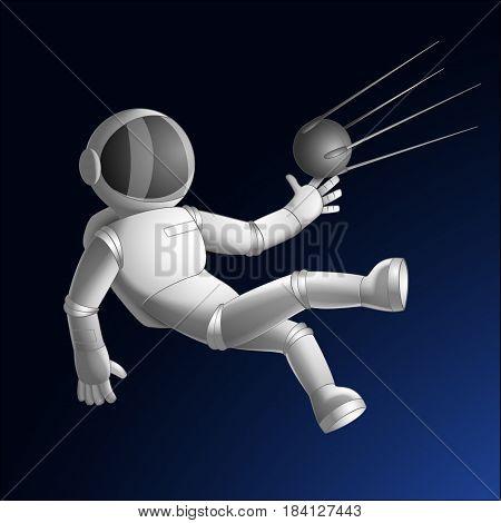 Cosmonaut Catching Sputnik