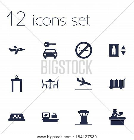 Set Of 12 Aircraft Icons Set.Collection Of Letdown, Luggage Check, Metal Detector And Other Elements.