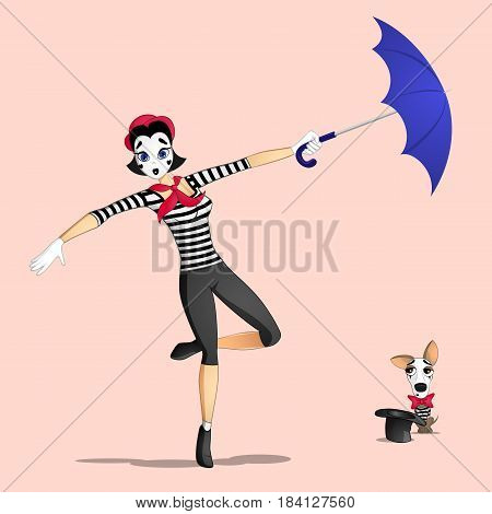 A girl mime performing a pantomime called flying with umbrella