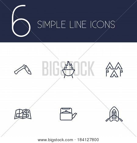 Set Of 6 Outdoor Outline Icons Set.Collection Of Rubber Boat, Encampment, Penknife And Other Elements.