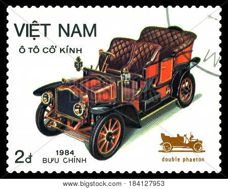 STAVROPOL RUSSIA - April 21 2017: a stamp printed by Vietnam shows old-time classical car Double phaeton circa 1984