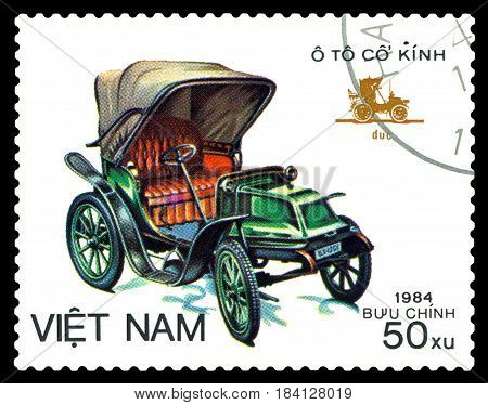 STAVROPOL RUSSIA - April 21 2017: a stamp printed by Vietnam shows old-time classical car Duc circa 1984