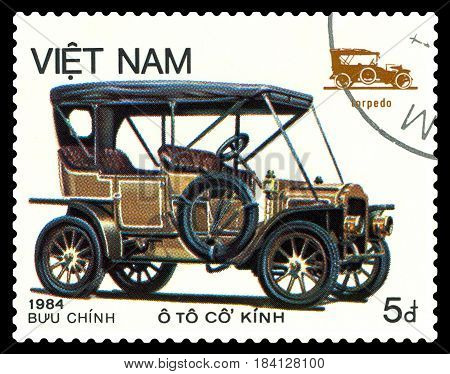 STAVROPOL RUSSIA - April 21 2017: a stamp printed by Vietnam shows old-time classical car Torpedo circa 1984