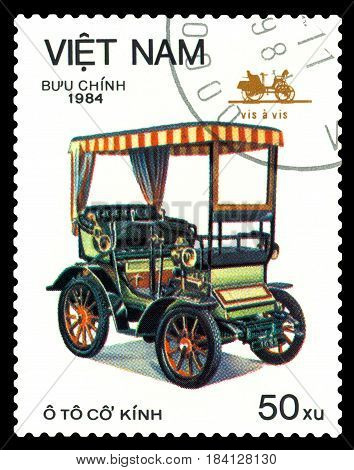 STAVROPOL RUSSIA - April 21 2017: a stamp printed by Vietnam shows old-time classical car Vis a Vis circa 1984
