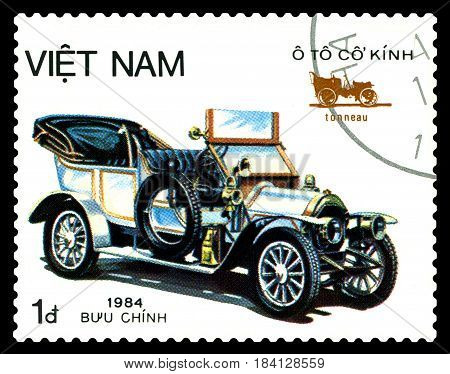 STAVROPOL RUSSIA - April 21 2017: a stamp printed by Vietnam shows old-time classical car Tonneau circa 1984