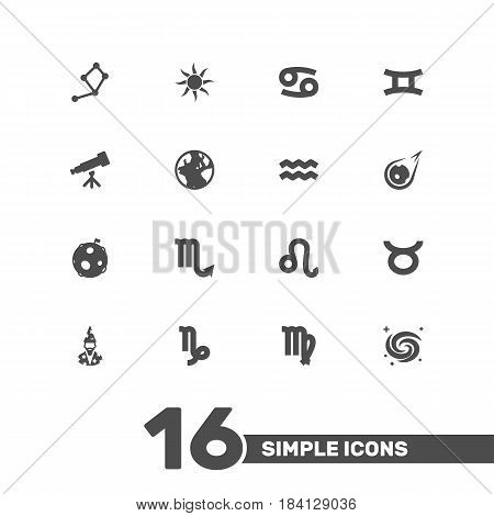 Set Of 16 Galaxy Icons Set.Collection Of Space, Comet, Crab And Other Elements.