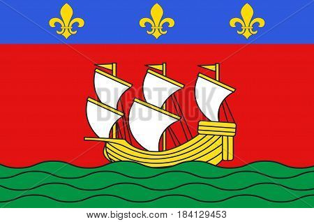 Flag of La Rochelle is a city in southwestern France and a seaport on the Bay of Biscay.