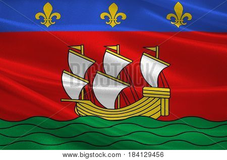 Flag of La Rochelle is a city in southwestern France and a seaport on the Bay of Biscay. 3D illustration