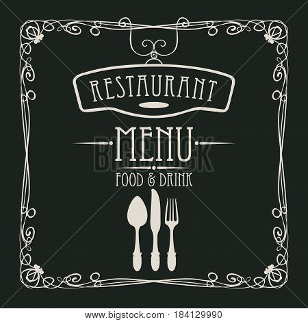 template vector menu for restaurant with flatware and curlicues in baroque style on black background