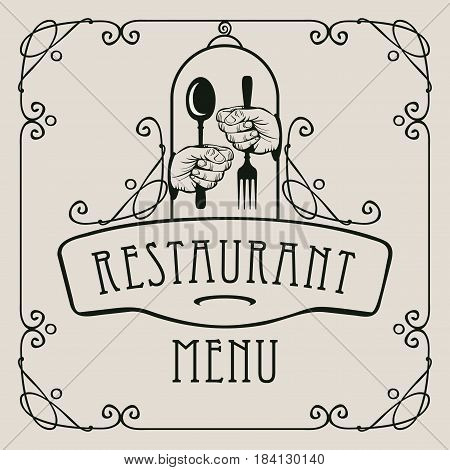 template vector menu for restaurant with cutlery in hands and curlicues in baroque style on the light background