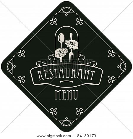 vector template menu for restaurant with Cutlery in hands and curlicues in the Baroque style on a black background in the shape of a rhombus