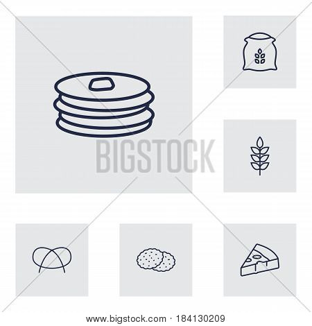 Set Of 6 Oven Outline Icons Set.Collection Of Flour, Pancakes, Wheat And Other Elements.