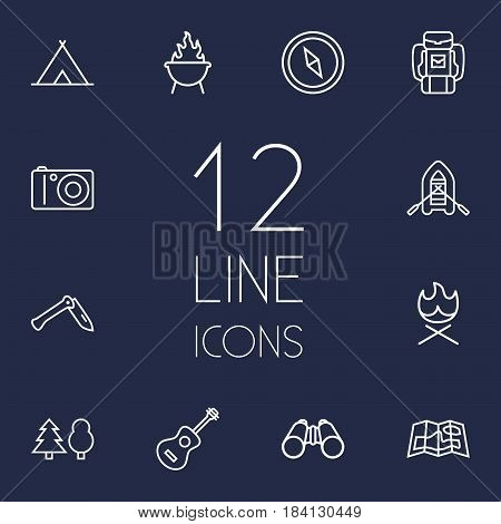 Set Of 12 Outdoor Outline Icons Set.Collection Of Forest, Guitar, Penknife And Other Elements.