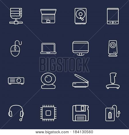 Set Of 16 Laptop Outline Icons Set.Collection Of Powerbank, Web Cam, Speaker And Other Elements.