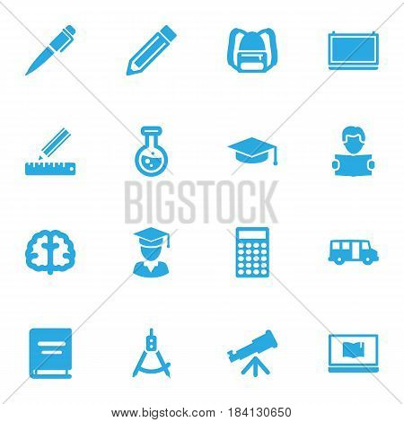 Set Of 16 Education Icons Set.Collection Of Blackboard, Flask, School Autobus And Other Elements.
