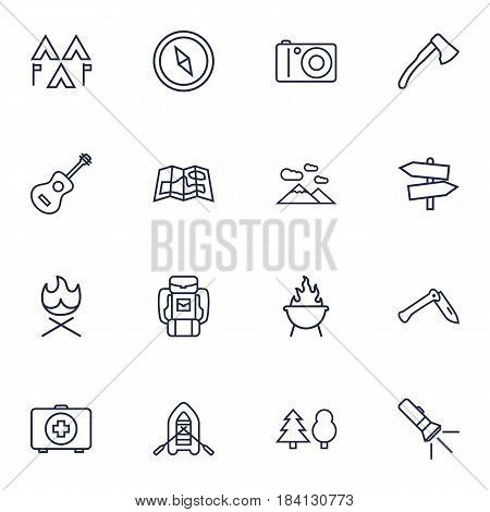 Set Of 16 Camping Outline Icons Set.Collection Of Pocket Torch, Guidepost, Compass And Other Elements.