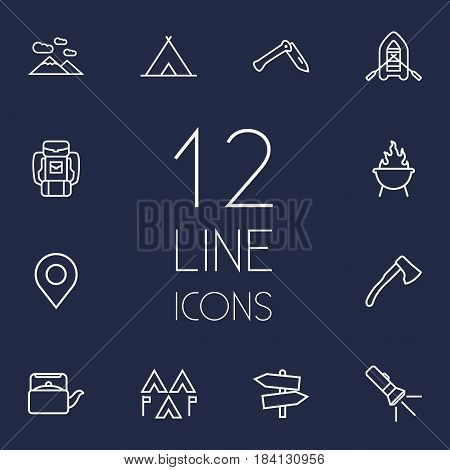 Set Of 12 Picnic Outline Icons Set.Collection Of Shelter, Encampment, Pocket Torch And Other Elements.
