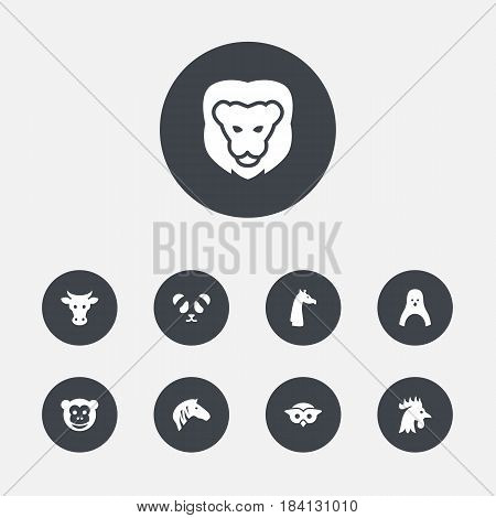 Set Of 9 Alive Icons Set.Collection Of Horse, Kine, Ape And Other Elements.
