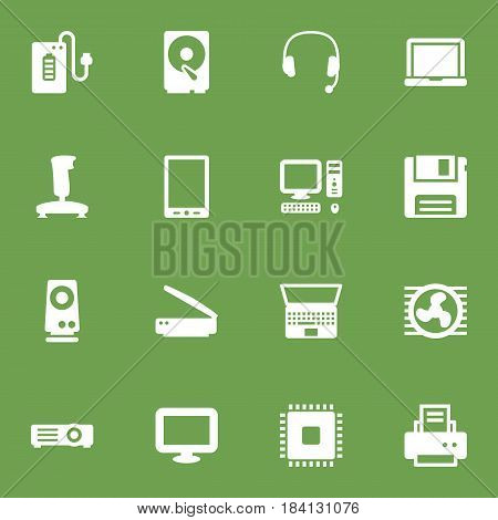 Set Of 16 Laptop Icons Set.Collection Of Amplifier, Microprocessor, Peripheral And Other Elements.