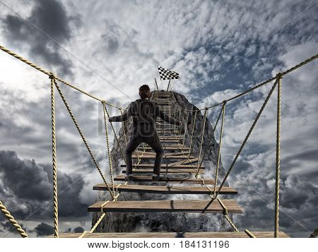 Reach the success with difficult. Achievement business goal and Difficult career concept with dangerous bridge