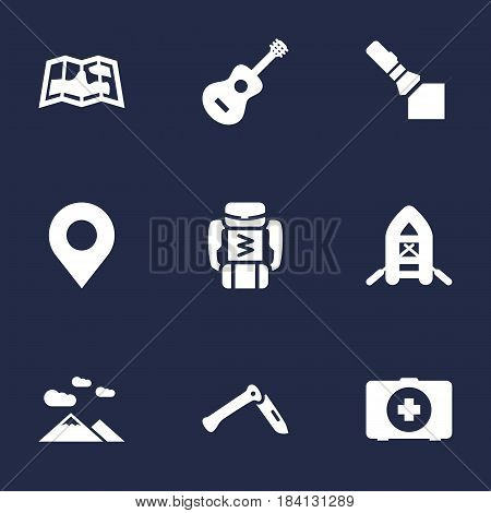 Set Of 9 Outdoor Icons Set.Collection Of Jackknife, Acoustic, Backpack And Other Elements.