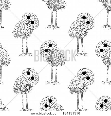 Big-eared owl. A seamless pattern in the handdrawn style. Black and white graphics