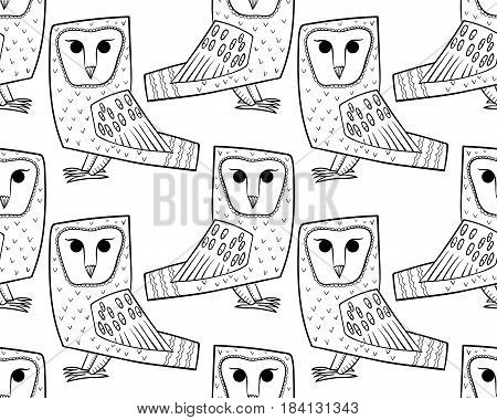 Barn owl. A seamless pattern in the handdrawn style. Black and white graphics