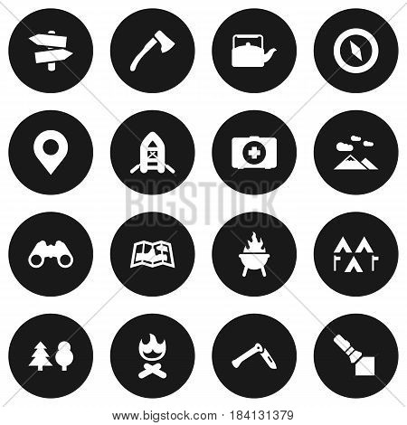 Set Of 16 Picnic Icons Set.Collection Of Jackknife, Map, Wood Axe And Other Elements.