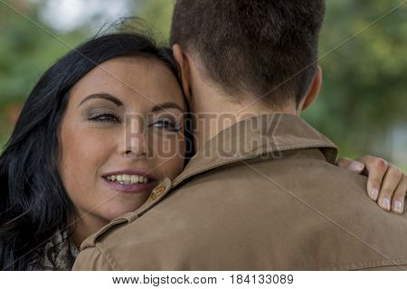 loving couple in a park