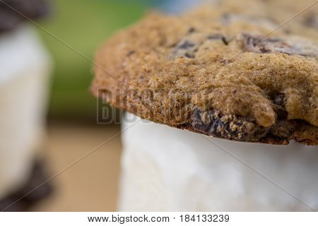 Close Up Of Chocolate Chip Cookie Ice Cream Sandwich