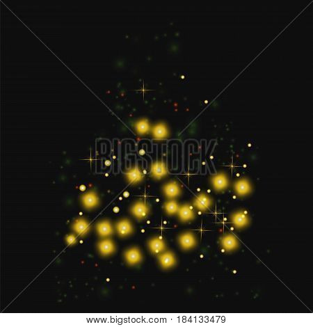 Starry Light Background. Yellow Glowing Stars. Speed Motion Effect. Sparcle Glitters
