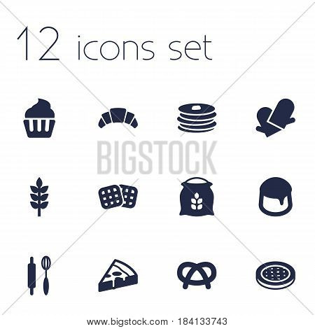 Set Of 12 Oven Icons Set.Collection Of Custard, Whisk, Crepe And Other Elements.