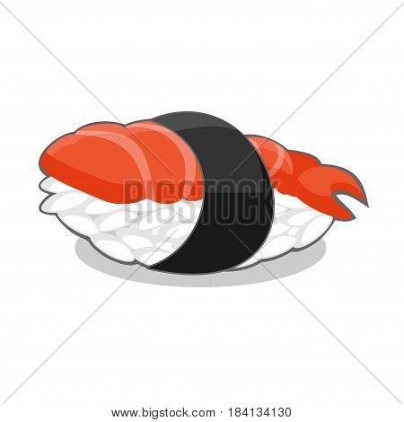 Vector illustration of nigiri ebi sushi with shrimp and seaweed nori ribbon isolated on a white background.