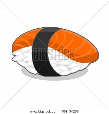 Nigiri sake sushi with salmon fish and seaweed nori ribbon. Vector illustration isolated on a white background.