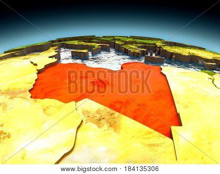 Libya On Model Of Earth