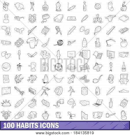 100 habits icons set in outline style for any design vector illustration