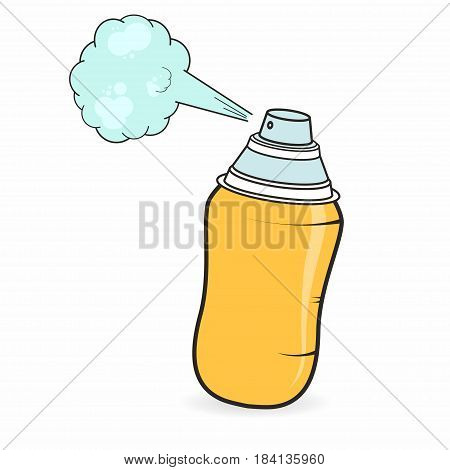 Graffiti spray can in cartoon style isolated on white background. Vector