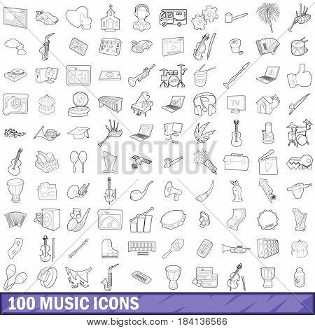 100 music icons set in outline style for any design vector illustration
