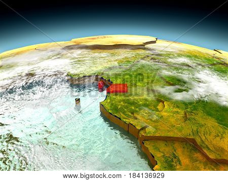Equatorial Guinea On Model Of Earth