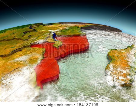 Mozambique On Model Of Earth