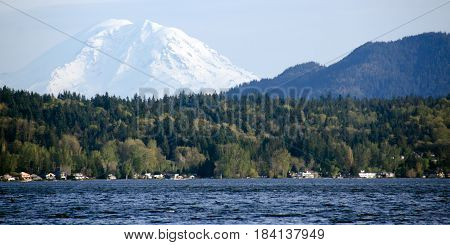 Sammamish Lake With  Rainier  In Background